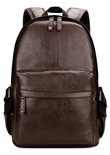 Kenox Vintage PU Leather Backpack School College Bookbag Laptop Computer Backpack - Brown