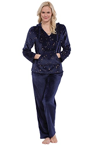 PajamaGram Soft Fleece Pajamas Women - Cozy Fleece PJs Women, Navy, S, 4-6 ()
