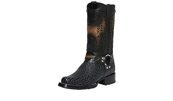Amazon.com | El General Bota Vaquera Piel Cuello de Toro ID 122481 CS2G Negro | Western