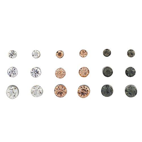 Lux Accessories Tri Color Rhinestone Circle Stone Multiple Earring Set (Circle Tri Color Earrings)