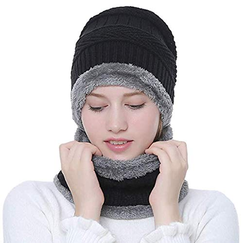 Sciarpa invernale Beanie Hat Set, JUSTIME Berretto a maglia Warm Fleece Foderato sciarpa Set regalo- Sci Hat Hat Outdoor Sports Set (Nero)
