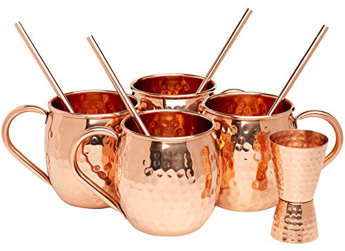 Kitchen Science Moscow Mule Hammered Copper 16 Ounce Drinking Mug, Set of 4 (4) (4) by Kitchen Science (Image #5)