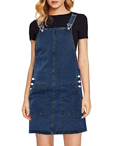 luvamia Women's Juniors Casual Straps Denim Overall Pinafore Dress with Pocket Deep Blue Size X-Large (Fits US 16-18) ()