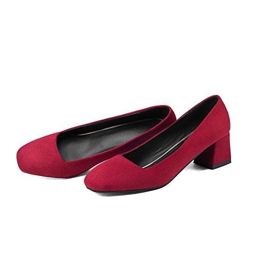 Quedrata VogueZone009 Flats Mucca Tirare Donna Chiaretto Medio Punta Pelle Puro di Tacco Ballet RP1qPYrw