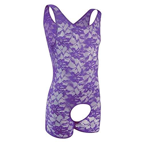 MOZATE Mens Lingerie Lace Straps Mankini One-Piece V Sling Stretch Singlet Bodysuit Purple