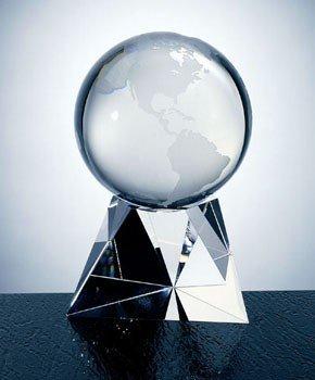 Optical Crystal World Globe Award with Tri Base - Large