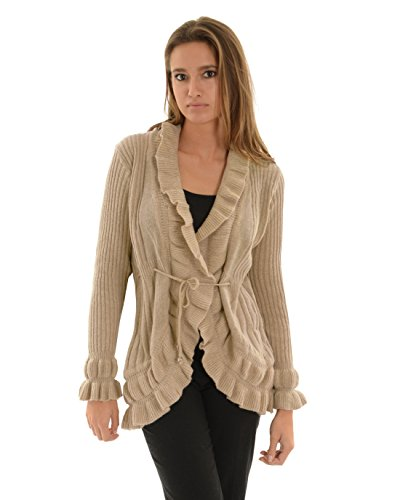 Womens Open Front Cardigan Tan Ribbed Sweater Ruffle Trim Tie Belt Long Sleeves Sizes: Medium