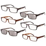 Eyekepper 6 Pairs Mens' Readers includes Sunglass Reader Spring Hinge Reading Glasses +1.25