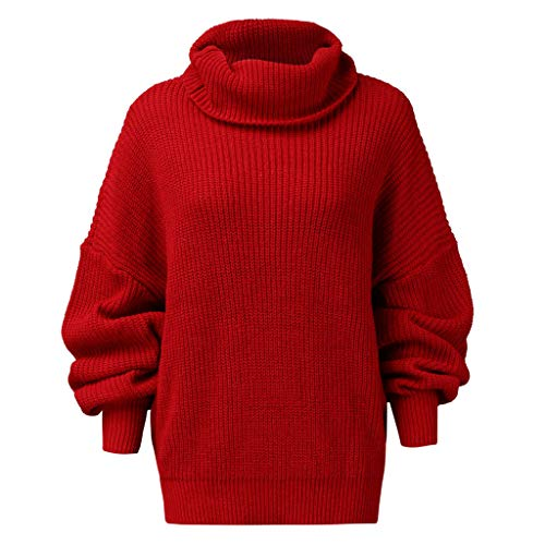 POQOQ Autumn Blouse Tunic Women Solid Turtleneck Sweater Long Sleeve Knit Pullover Top(Red,M)