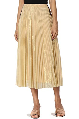 TheMogan Junior's Metallic Accordion Pleated Elastic Waist Midi Skirt Gold M ()