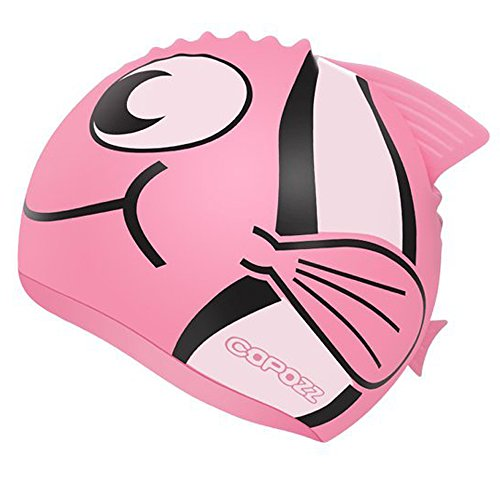 COPOZZ Kids Swim Swimming Caps for Aged (3-7) Boys and Girls (Pink) (Pink)