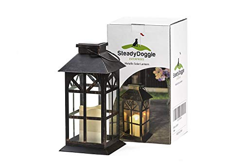 Large Hanging Lantern - SteadyDoggie Sports & Outdoors Indoor Outdoor Solar Lantern Decor Antique Metal Glass Construction Estate Solar Mission Lantern Patio Lawn Garden Decor