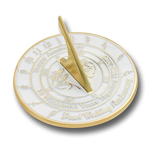 The Metal Foundry 30th Pearl Wedding Anniversary 2019 Sundial Gift Idea is A Great Present for Him, for Her Or for A Couple to Celebrate 30 Years of -