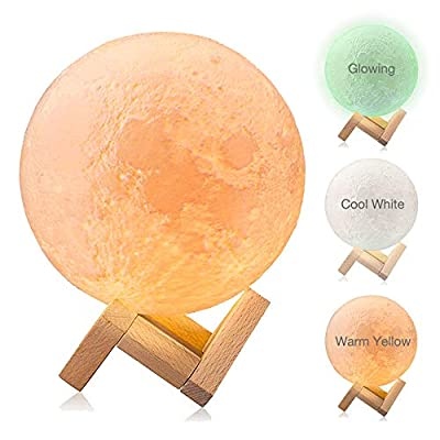 Moon Light, Dikale LED 3D Print Moon Lamp with Stand & Remote&Touch Control and USB Rechargeable, Moon Light Lamps Night Lights for Baby Kids Lover Birthday Party Gifts