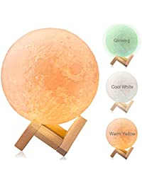 Moon Lamp, Dikale Warm Yellow/Cool White/Night Light LED 3D Print Moon Light Touch Control and USB Rechargeable, Moon Light Lamps Night Lights for Baby Kids Lover Birthday Party Gifts(Diameter 4 inch)