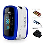 AccuMed CMS-50D1 Finger Pulse Oximeter Blood Oxygen Sensor SpO2 for Sports and Aviation. Portable and Lightweight with LED Display, 2 AAA Batteries, Lanyard and Travel Case (Blue)