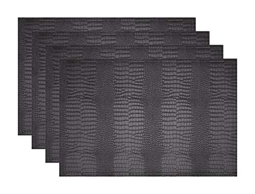 Jovono Faux Leather Hardboard Placemats, Set of 4 PU Table Mats, Easy to Clean, Heat & Stain Resistant for Office Conference Table,Dinging Home Decor (Crocodile Effect Leather)