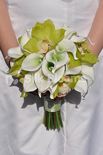 Bouquet Sposa Verde Mela.Fresh Touch Colori Brillanti Artificiali Colore Verde Mela