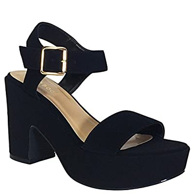 BAMBOO Women's Chunky Heel Platform Sandal with Quarter Strap