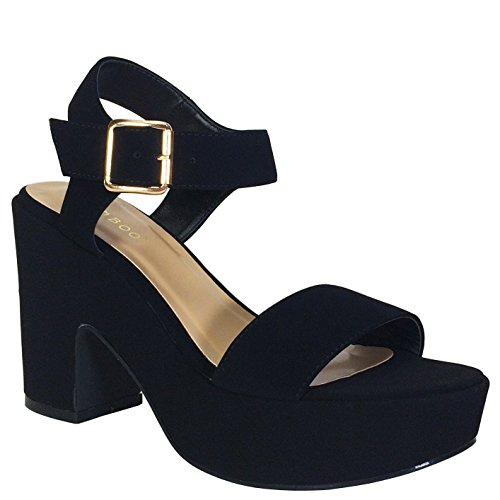 Black Platform Heel Shoes (Bamboo Women's Chunky Heel Platform Sandal With Quarter Strap, Black Nubuck PU, 7.0 B US)