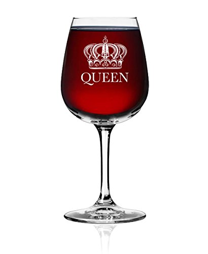 Queen Wine Glass - Bachelorette Bridal Party Drinkware Favor - Newlyweds Wedding Anniversary Gift for Girlfriend Wife Mother Mom - Great Engagement Housewarming Glassware - Funny Fancy Royalty Novelty ()