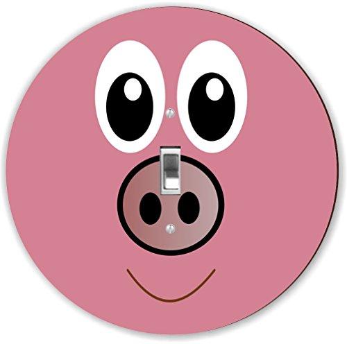 Rikki Knight RND-LSPS-132 Cute Cartoon Pig Face Round - S...