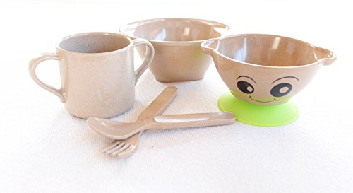 Ecolunchware Baby Dinner Set Eco Friendly Fork BPA Free /& Dishwasher Safe Cup 2 Bowls Children Breakfast Set Kids Cutlery Spoon and Suction Pad 100/% Organic