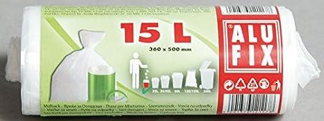 Bolsas de basura Alufix 15 litros, blanco - 30 pcs: Amazon.es ...