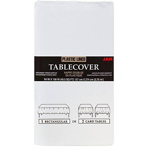 """JAM Paper Paper Rectangular Tablecover - 54"""" x 108"""" - White - Sold Individually"""