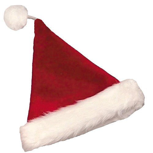 Halco Velvet Plush Santa Claus Hat (Burgundy) With White Long-Hair Band -