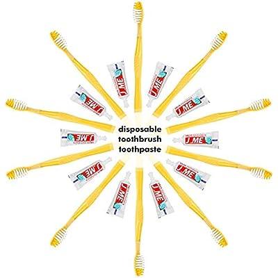 100 unids Cepillos de dientes desechables y pasta de dientes envueltos individualmente Equipo dental Traje de viaje para viajes, hotel, huéspedes
