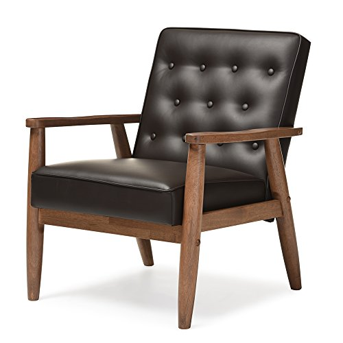 baxton studio sorrento mid-century retro modern faux leather upholstered wooden lounge chair, brown