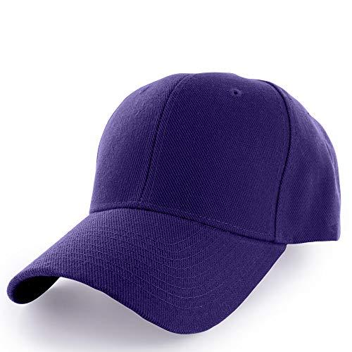 KANGORA Plain Baseball Cap Adjustable Men Women Unisex | Classic 6-Panel Hat | Outdoor Sports Wear (20+Colors) (Purple)