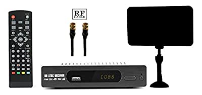 Digital Converter Box + Flat Antenna for Recording & Viewing Full HD Digital Channels for FREE (Instant & Scheduled Recording, DVR, 1080P HDTV, HDMI Output, 7 Day Program Guide & LCD Screen) RF Cable