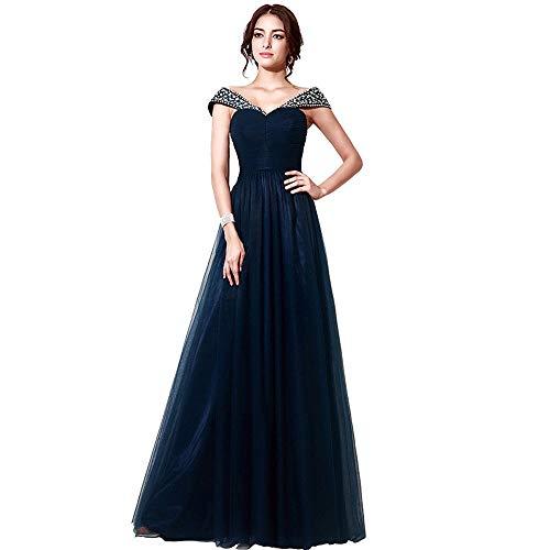 Women's Elegant Prom Dress Rhinestone Long Evening Gown (Size : 16)