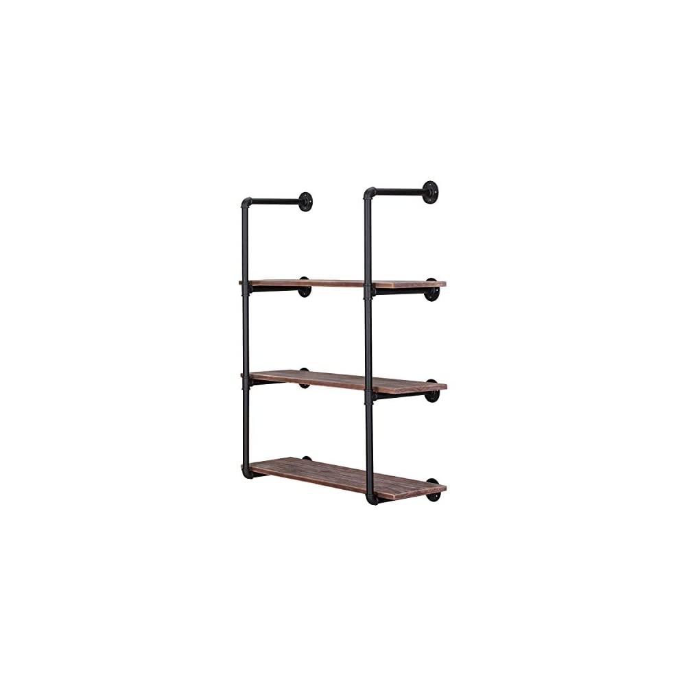 Industrial Iron Pipe Shelving Brackets Unit, Farmhouse Wall Mounted Pipe Shelves for Kitchen Bathroom, DIY Bookshelf…