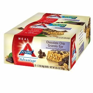 Atkins Advantage Atkins Advantage Granola Bar, Chocolate Chip 12 ct (Quantity of 2) by Atkins