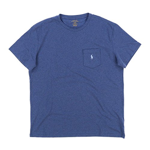 - Polo Ralph Lauren Mens Stretch Cotton Pocket T-Shirt (Meidum, Heather Blue)