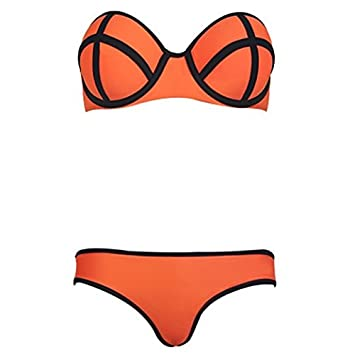 ae37c3b088c Amazon.com : Sexy Ladies Women Push up Padded Swimsuit Bikini Trikini  Tankini Swimwear Beachwear Bathing Suit 2 Pieces Top + Bottom Set (Small,  ...