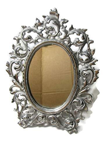 El Relicario de Los Tesoros Solid Mexican Pewter Frame Dresser Table Mirror Mexican Folk Art (Fancy Oval Filigree)