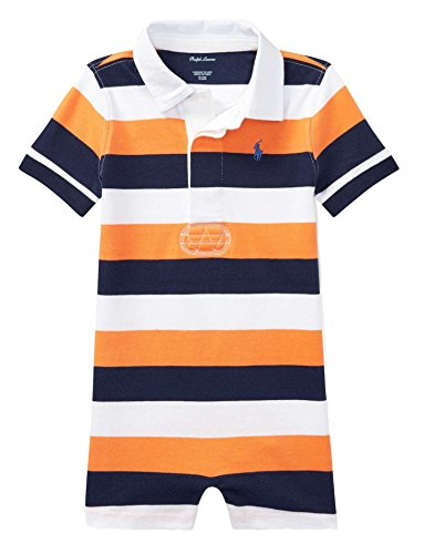 RALPH LAUREN Baby Boys Striped Cotton Rugby Shortall Thai Orange Multi (9 (Ralph Lauren Striped Romper)