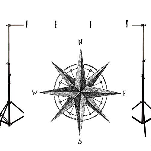 Good Directions Decorative Topper - Compass Stylish Backdrop,Seamanship Hand Drawn Windrose with Complete Directions North South East West Decorative for Photography,39.3