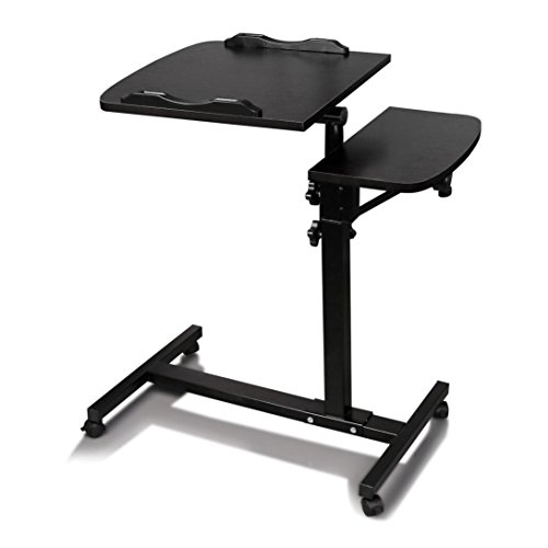 Mobile Laptop Cart, SnnikuTurnlift Sit-Stand Computer Stand Notebook Desk Cart Macbook Tables with Side Table (Black)