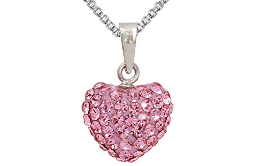Sterling Silver Pink Heart Pendant Necklace With Genuine Swarovski Crystals 18