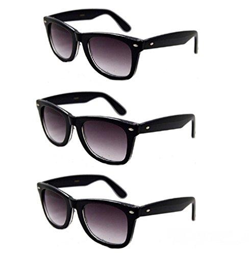 3 Pair Classic Wayfarer Full Reader Sunglasses NOT BiFocals-- Black - Sunglasses Ribbon