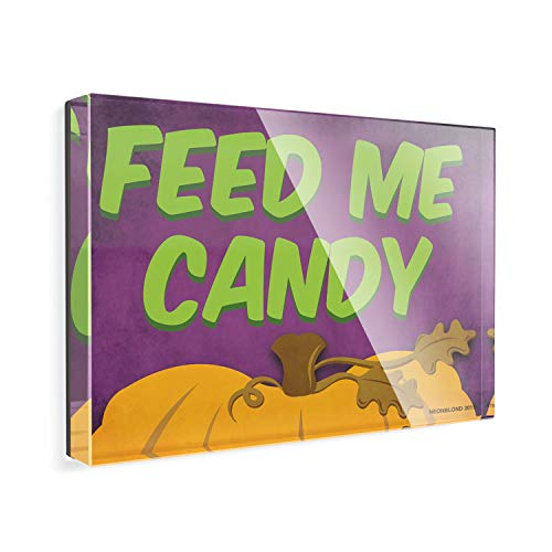 Acrylic Fridge Magnet Feed Me Candy Halloween Pumpkin Top NEONBLOND -
