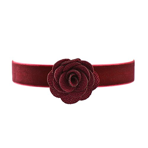 Paialco Wine Red Velvet Belt Gothic Choker Necklace 12-15 Inches, Maroon Rose Flower Shape ()