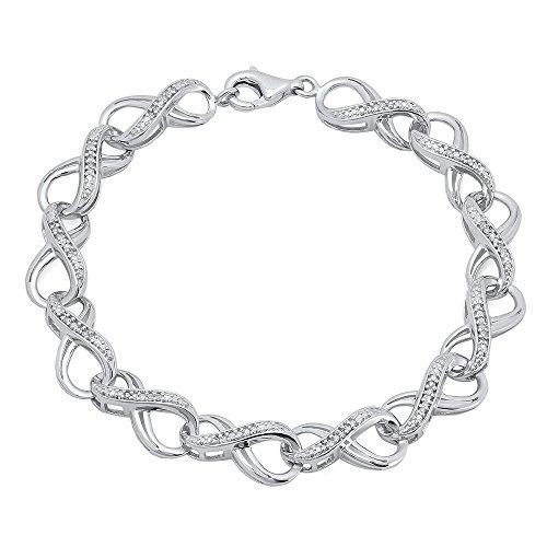 1/4 Ct Diamond Tennis Bracelet (0.25 Carat (ctw) Sterling Silver Round White Diamond Ladies Infinity Tennis Link Bracelet 1/4 CT)