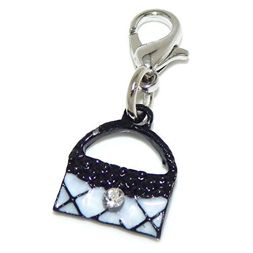 silver-plated-dangling-clip-on-black-and-white-purse-with-clear-rhinestone-bead-charm-pendant