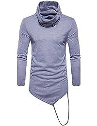 "<span class=""a-offscreen"">[Sponsored]</span>Long T-Shirt Mens Boys Hem Shirt Long Sleeve Casual Shirt Turtleneck Asymetric Pullover Sport Shirt Plaid Color..."